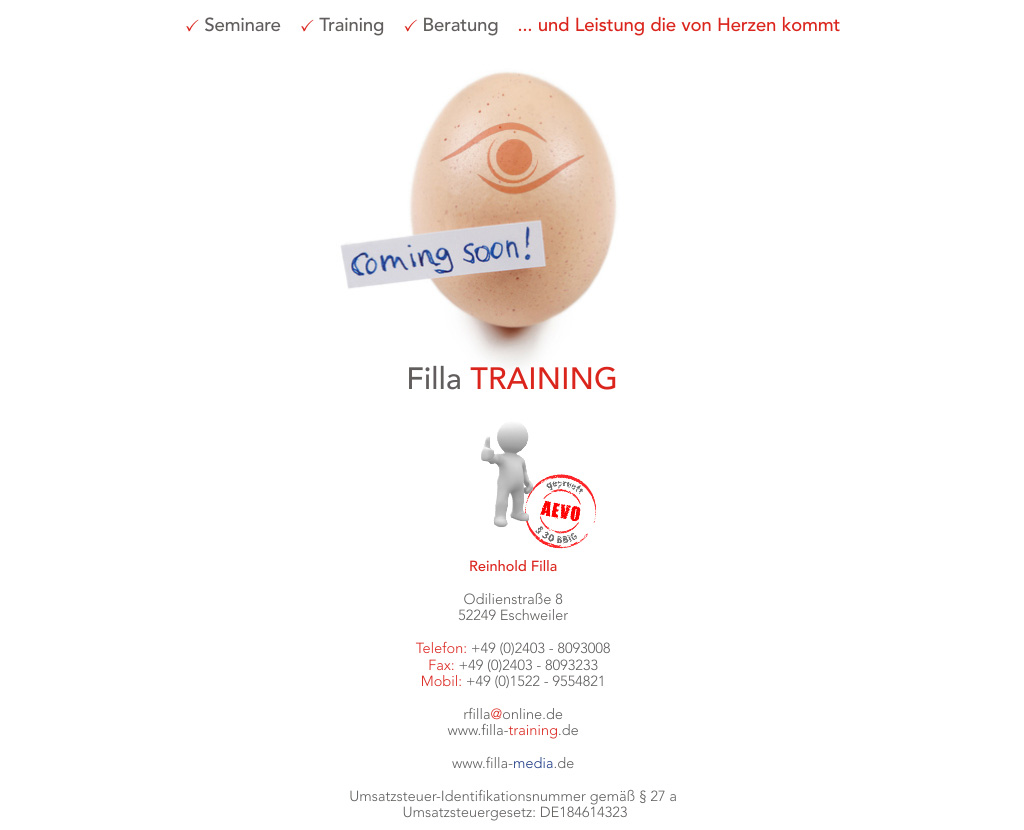 Filla TRAINING - Coming soon